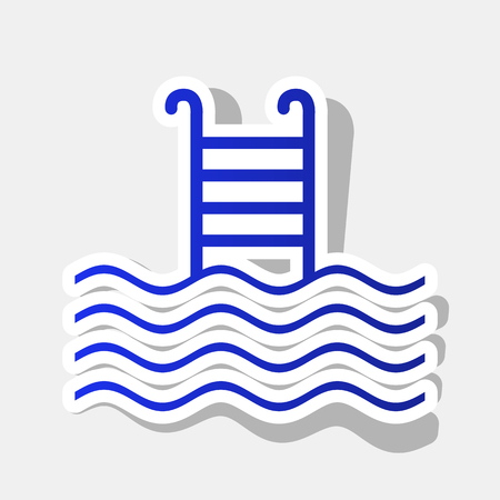 handrail: Swimming Pool sign. Vector. New year bluish icon with outside stroke and gray shadow on light gray background. Illustration