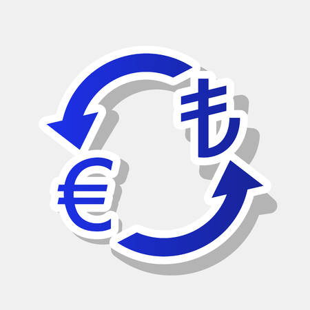 Currency exchange sign. Euro and Turkey Lira. Vector. New year bluish icon with outside stroke and gray shadow on light gray background.