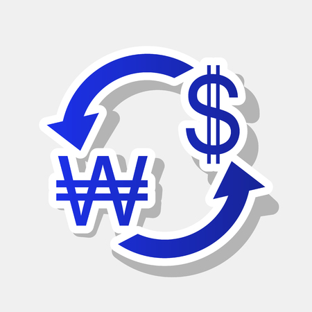 ganado: Currency exchange sign. South Korea Won and US Dollar. Vector. New year bluish icon with outside stroke and gray shadow on light gray background.