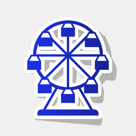 Ferris wheel sign. Vector. New year bluish icon with outside stroke and gray shadow on light gray background.