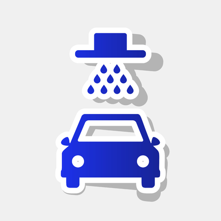 Car wash sign. Vector. New year bluish icon with outside stroke and gray shadow on light gray background.