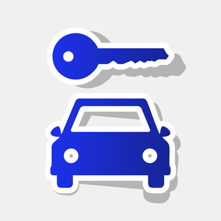 locksmith: Car key simplistic sign. Vector. New year bluish icon with outside stroke and gray shadow on light gray background. Illustration