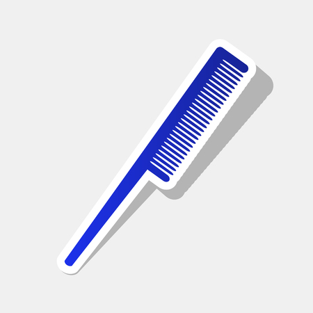 Comb sign. Vector. New year bluish icon with outside stroke and gray shadow on light gray background. Illustration