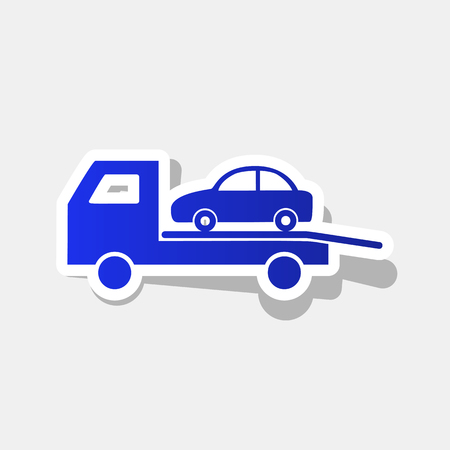 the wrecker: Tow car evacuation sign. Vector. New year bluish icon with outside stroke and gray shadow on light gray background.
