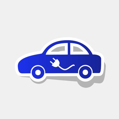 Signo de coche eléctrico. Vector. Icono azulado de año nuevo con el trazo exterior y la sombra gris sobre fondo gris claro.
