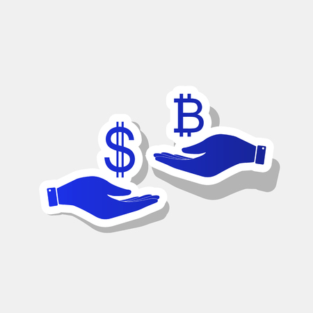 Currency exchange from hand to hand. Dollar and Bitcoin. Vector. New year bluish icon with outside stroke and gray shadow on light gray background.