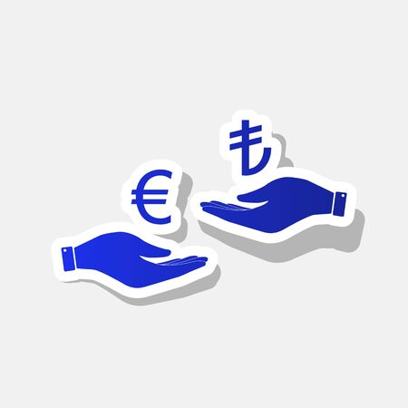 Currency exchange from hand to hand. Euro and Lira. Vector. New year bluish icon with outside stroke and gray shadow on light gray background. Illustration