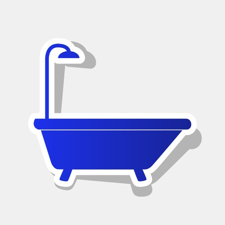 Bathtub sign. Vector. New year bluish icon with outside stroke and gray shadow on light gray background. Illustration