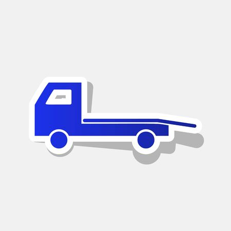 the wrecker: Service of evacuation sign. Wrecking car side. Car evacuator. Vehicle towing. Vector. New year bluish icon with outside stroke and gray shadow on light gray background.