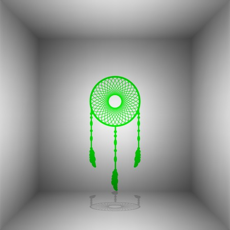 swelled: Dream catcher sign. Vector. Green icon with shadow in the room. Illustration