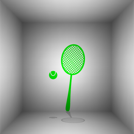 Tennis racquet sign. Vector. Green icon with shadow in the room.