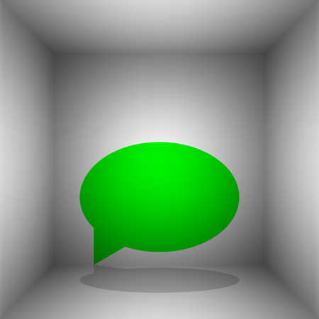 Speech bubble icon. Vector. Green icon with shadow in the room. Иллюстрация
