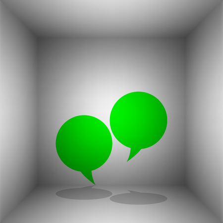 Speech bubble sign. Vector. Green icon with shadow in the room.