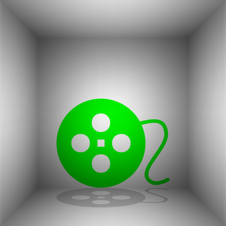 Film circular sign. Vector. Green icon with shadow in the room.
