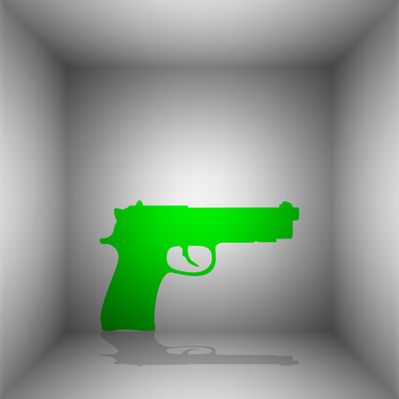 Gun sign illustration. Vector. Green icon with shadow in the room.