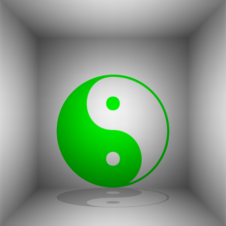 Ying yang symbol of harmony and balance. Vector. Green icon with shadow in the room. Illustration
