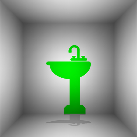 Bathroom sink sign. Vector. Green icon with shadow in the room. Illustration