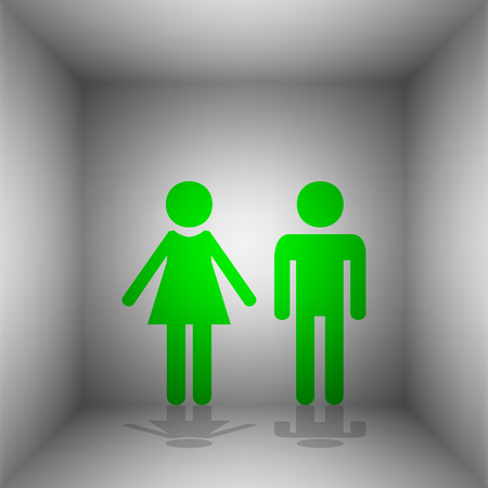 Male and female sign. Vector. Green icon with shadow in the room.