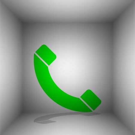Phone sign illustration. Vector. Green icon with shadow in the room. Illustration