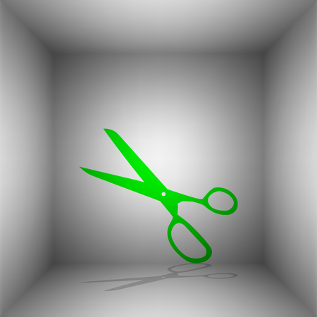 Scissors sign illustration. Vector. Green icon with shadow in the room.
