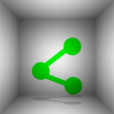 Share sign illustration. Vector. Green icon with shadow in the room.