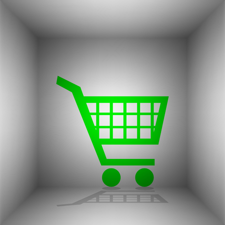 Shopping cart sign. Vector. Green icon with shadow in the room. Illustration