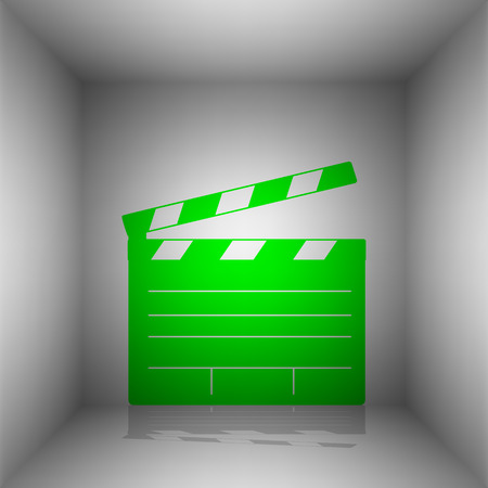 flick: Film clap board cinema sign. Vector. Green icon with shadow in the room. Illustration