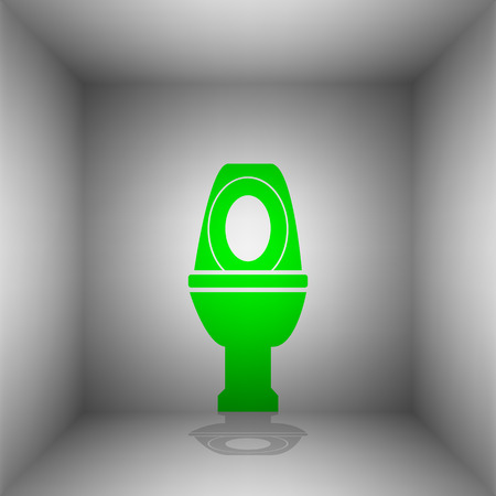 Toilet sign illustration. Vector. Green icon with shadow in the room. Illustration