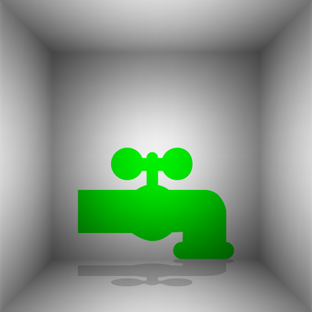 spew: Water faucet sign illustration. Vector. Green icon with shadow in the room. Illustration