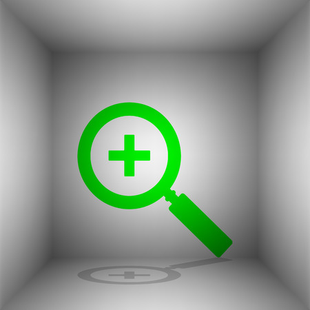 inspector: Zoom sign illustration. Vector. Green icon with shadow in the room.