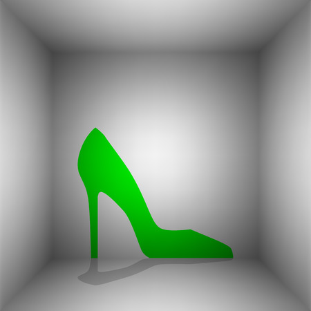 Woman shoe sign. Vector. Green icon with shadow in the room. Illustration