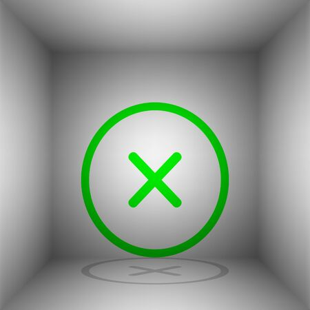 Cross sign illustration. Vector. Green icon with shadow in the room. Illustration