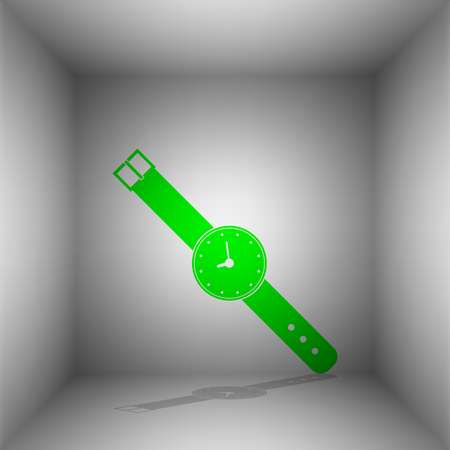 Watch sign illustration. Vector. Green icon with shadow in the room. Illustration