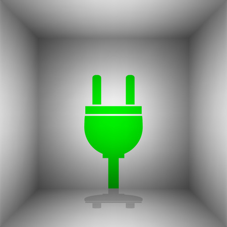 Socket sign illustration. Vector. Green icon with shadow in the room.
