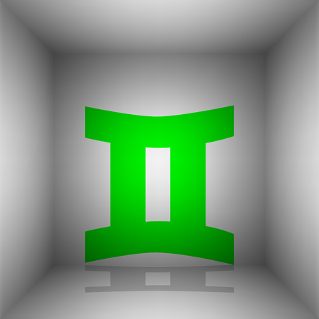 Gemini sign. Vector. Green icon with shadow in the room.