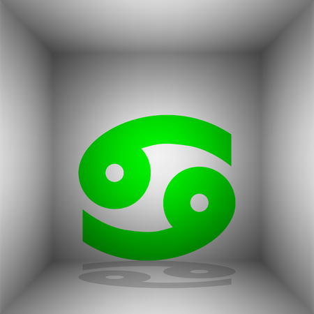ecliptic: Cancer sign illustration. Vector. Green icon with shadow in the room.