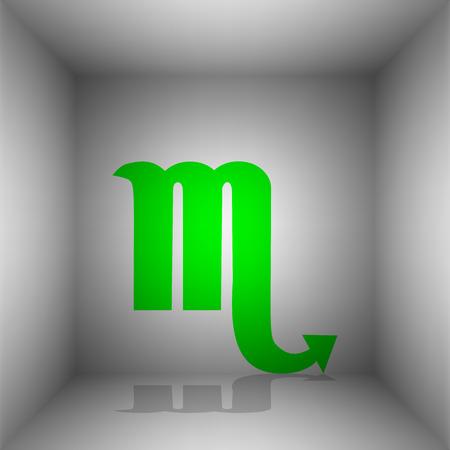 Escorpio signo ilustración. Vector. icono verde con la sombra en la habitación.