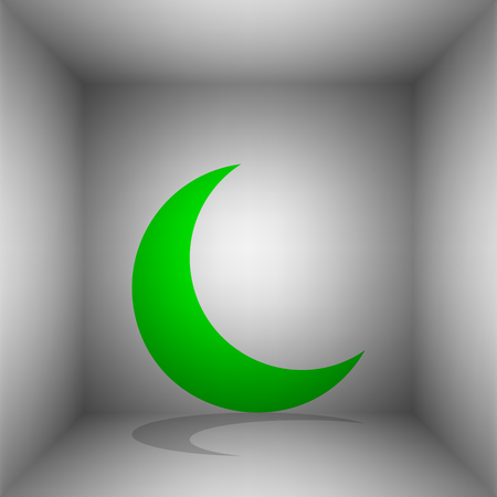 Moon sign illustration. Vector. Green icon with shadow in the room.