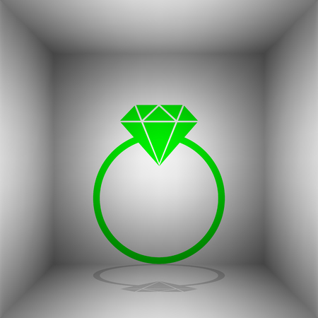 Diamond sign illustration. Vector. Green icon with shadow in the room. Illustration