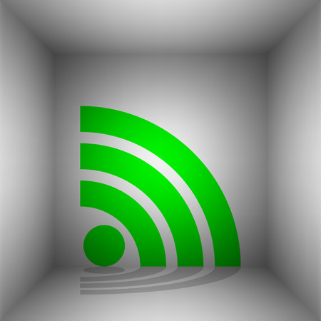 RSS sign illustration. Vector. Green icon with shadow in the room.