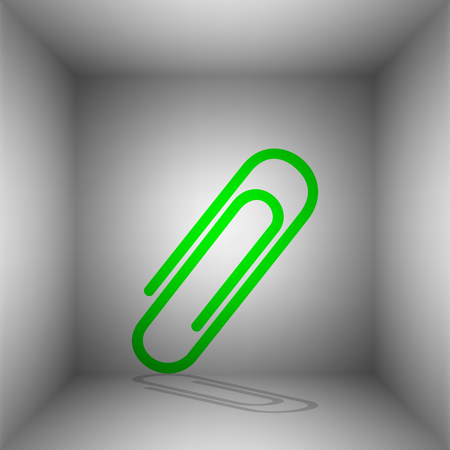 Clip sign illustration. Vector. Green icon with shadow in the room.