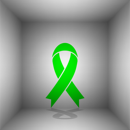 Black awareness ribbon sign. Vector. Green icon with shadow in the room.
