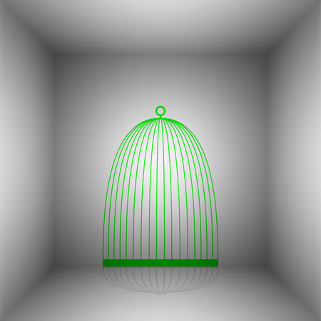 Bird cage sign. Vector. Green icon with shadow in the room.