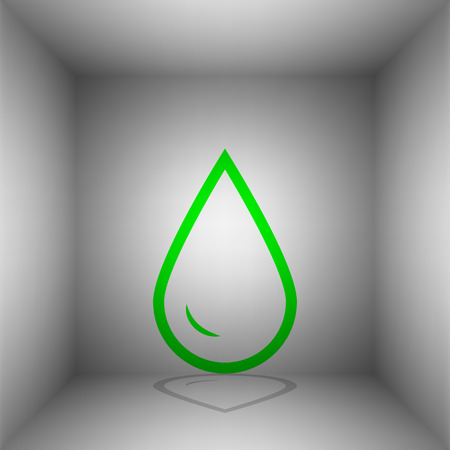 filling station: Drop of water sign. Vector. Green icon with shadow in the room. Illustration