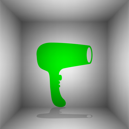 Hair Dryer sign. Vector. Green icon with shadow in the room.