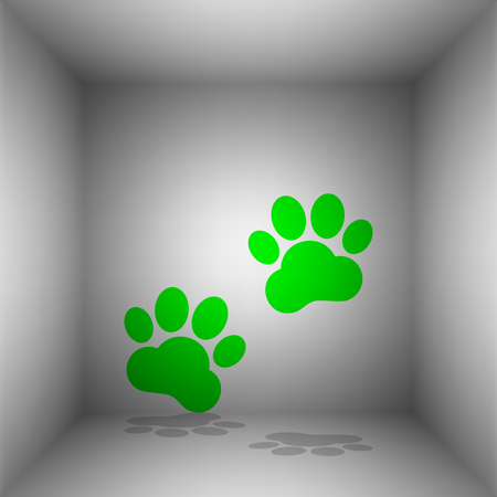 Animal Tracks sign. Vector. Green icon with shadow in the room.