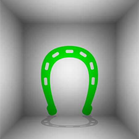 Horseshoe sign illustration. Vector. Green icon with shadow in the room. Illustration