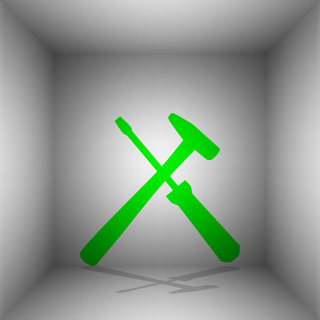 Tools sign illustration. Vector. Green icon with shadow in the room.