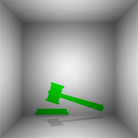 courthouse: Justice hammer sign. Vector. Green icon with shadow in the room. Illustration
