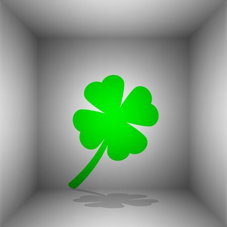 Leaf clover sign. Vector. Green icon with shadow in the room. Illustration